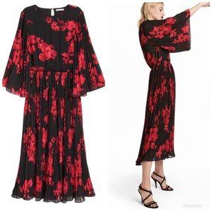 H&M midi black and red dress